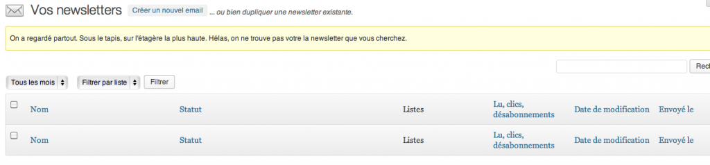 Wysija newsletter création WordPress